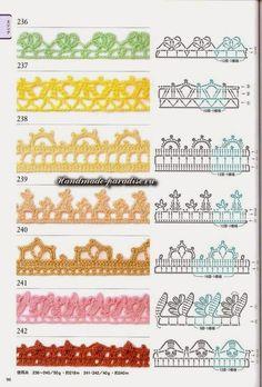 100 Modelos de Bicos/Barradinhos de Crochê com Gráfico Crochet Boarders, Crochet Edging Patterns, Crochet Lace Edging, Crochet Diagram, Crochet Chart, Lace Patterns, Crochet Trim, Filet Crochet, Diy Crochet