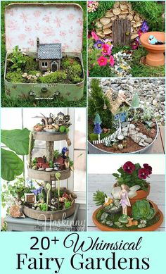 TONS of DIY fairy garden ideas including many unique and easy to make miniature accessories. Fairy garden pictures and tutorials to inspire your creativity!