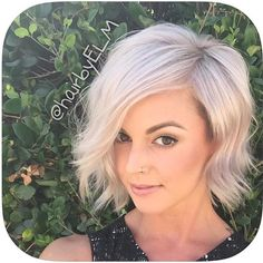 Asymmetrical Bob #blonde #assymetricalbob so cute