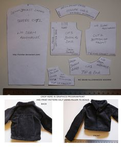 Limho Mono BJD size Denim Jacket Pattern by *lulufae on deviantART Diy Barbie Clothes, Fairy Clothes, Sewing Clothes, Doll Clothes, Diy Clothes Patterns, Doll Dress Patterns, Barbie Patterns, Monster High, Teddy Bear Clothes