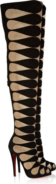 Christian Louboutin Lola Montes 140 Cutout Suede Thigh Boots in Black #http://www.shoeniverse.info/