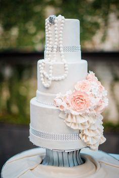 Romantic pink wedding cake.