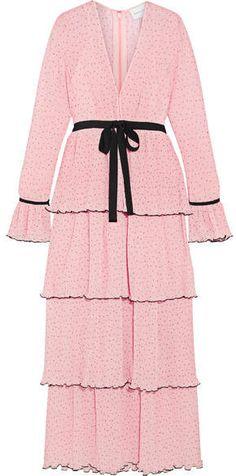 cb917272924 Now Or Never Tiered Swiss-dot Chiffon Maxi Dress - Pastel pink  dot