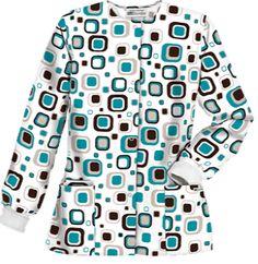 UA Funky Geo Teal Scrub Jacket Warm-up your workday in this trendy scrub jacket. Style # U834FGT #uniformadvantage #uascrubs #adayinscrubs #printscrubs #funscrubs #fashion #scrubs #nurse #fun