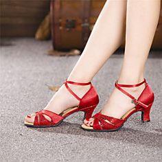Chaussures de danse (Rouge/Argent/Or) - Non personnalisable - Talon Large - Satin/Paillette - Danse latine