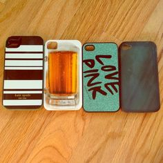iPhone 4/4s case Also for individual sale: Kate spade case (sold)   $2-beer case $7-pink case $2-blue rubber case Accessories