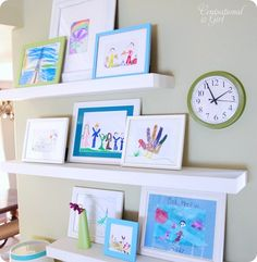 DIY Playroom Art Gallery Wall (art on shelves, via Centsational Girl) Playroom Art, Art Wall Kids, Diy Wall Art, Kid Art, Playroom Ideas, Displaying Kids Artwork, Artwork Display, Artwork Wall, Display Wall