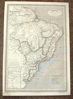 "Antique Map - ""BRESIL, PARAGUAY ET URUGUAY"" by Monin - Steel Engraving - 1837"