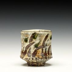 "Bandana Pottery | Yunomi | White slip with finger swipes and clear glaze | 3.75""x 3.25""x 3.25"""