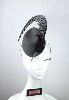 Grey felt fascinator with black lace and beading and pheasant feather accent Felt Hat, Wool Felt, Hat For The Races, Fascinator Hats, Fascinators, Head Hunter, Mad Hatter Hats, Pheasant Feathers, Feather Hat
