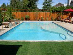 rectangular pool with baja shelf