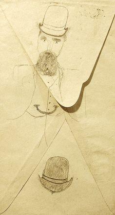 19th Century Folk Art Drawing Man with a Beard, a Watch fob and a Hat Collection Jim Linderman Dull Tool Dim Bulb  http://dulltooldimbulb.blogspot.com/