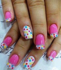 Pink polka dots nail art