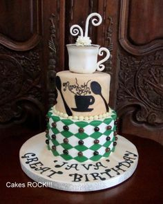 Java Great Birthday! Coffee themed cake with Starbucks colors.  By Cakes ROCK!!!  www.facebook.com/christycakesrock