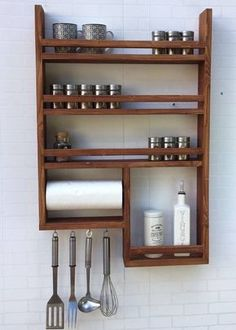 Kitchen Countertops Spice Rack with kitchen roll - Spice rack made of old wood with kitchen roll! 4 hooks, without decoration, very stable, with kitchen roll Kitchen Organization, Kitchen Storage, Kitchen Shelves, Kitchen Cabinets, Spice Rack Organization, Kitchen Racks, Kitchen Worktop, Open Shelves, Organization Ideas