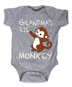 Athletic Heather 'Grandma's Lil' Monkey' Bodysuit - Infant by Cotton Jungle #zulily #zulilyfinds