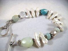 Biwa Pearls Amazonite Rock Quartz and Sterling by OBTPjewelry, $68.00