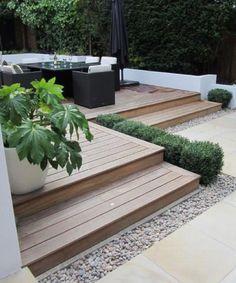 Small Backyard garden and decks landscaping design. Back Gardens, Small Gardens, Outdoor Gardens, Formal Gardens, Outdoor Paving, Roof Gardens, Small Garden Design, Patio Design, Grill Design
