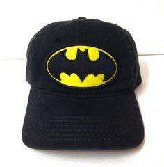 964d321f3ae27 BATMAN HAT Black Yellow Unstructured Dad Cap DC Comics Men Women Adjustable  EUC!
