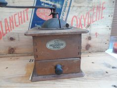 Vintage French all original Coffee Grinder 'Moulin à Café'  Made by Peugeot Freres Wooden Body with Green Painted Top by VintageFoggy on Etsy