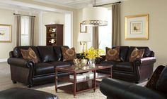Simon Li Amarillo Walnut 100% Leather Nailhead Sofa and Loveseat