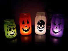 Halloween decor with Mason jars