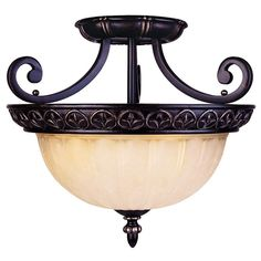 16.5-in W Distressed Bronze Textured Semi-Flush Mount Light