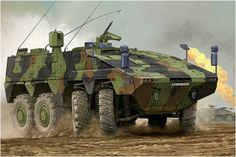 MRAV Boxer (Multirole Armoured Vehicle; «vehículo blindado polivalente» ó su denominacion alemana GTK. Armado con una ametralladora 1530 Krauss-Maffei Wegmann, con un lanzagranadas de 40mm. Vincent Wai. Box art Hobby Boss. Más en www.elgrancapitan.org/foro
