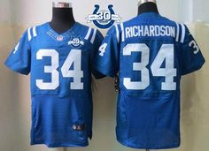 """$23.88 at """"MaryJersey""""(maryjerseyelway@gmail.com) Nike Colts #34 Trent Richardson Royal Blue Team Color With 30TH Seasons Patch Men's Embroidered NFL Elite Jersey"""