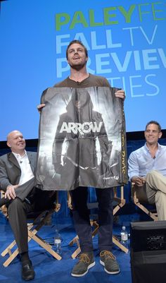 BEVERLY HILLS, CA - SEPTEMBER 08: (L-R) Marc Guggenheim, Stephen Amell and Greg Berlantiattend the Fall TV preview party for the screening of CW's Arrow at The Paley Center for Media on September 8, 2012 in Beverly Hills, California. © Kevin Parry Photography