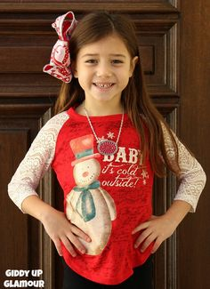 Kids Baby It's Cold Outside Snowman Red Baseball Tee with Glitter Crochet Sleeves www.gugonline.com $22.95