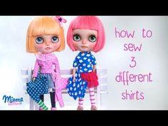 Como hacer 3 camisetas diferentes para Blythe TUTORIAL - YouTube