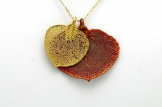Aspen Leaf Necklace: Handmade Real Aspen Leaf –   all our aspen leaves are one-of-a-kind, beautiful real leaves, dipped in precious metals.  After being boiled in a base solution, each leaf is skeletonized with a brush or sand blaster, then dipped in copper, then in 24K Gold, Sterling Silver or Iridescent Copper.  Preserved forever through the process known as Electroforming.  Amazing and unique, handmade in Los Angeles one by one.  Aspen leaves are said to bring Inspire Creativity…