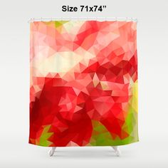 Shower Curtain Art Curtain Pink Abstract Curtain Mosaic Pattern Polygon Flowers Red Geometric Art Yellow Green Nature 71x74 inch curtain