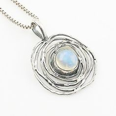 Moonstone Sterling Silver Nest Pendant
