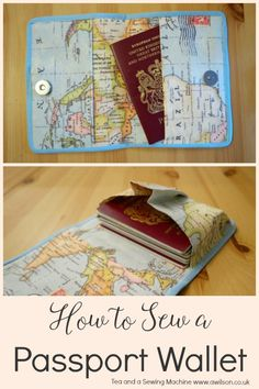 A tutorial showing how to sew a passport wallet to keep your passport safe! A quick, easy thing to make. Diy Wallet Pouch, Diy Wallet Easy, Wallet Tutorial, Pouches, Diy Sewing Projects, Sewing Projects For Beginners, Sewing Ideas, Sewing Tutorials, Passport Wallet