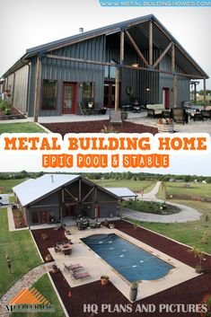 metal building houses Full Metal Building Home with Epic Pool & Stable. Spacious, Luxurious and comfortable. These are the words that best describe this metal building by Muller I Barn Homes Floor Plans, Metal Barn Homes, Pole Barn House Plans, Pole Barn Homes, House Floor Plans, Barn Home Plans, Barn Style Homes, Metal Homes Plans, Barn Style House Plans
