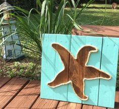 Handmade Starfish With Rope Beach Pallet Art by BeachByDesignCo on Etsy https://www.etsy.com/listing/213788306/handmade-starfish-with-rope-beach-pallet