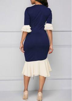 Flare Cuff Asymmetric Hem Tie Neck Sheath Dress on sale only US$37.26 now, buy cheap Flare Cuff Asymmetric Hem Tie Neck Sheath Dress at liligal.com