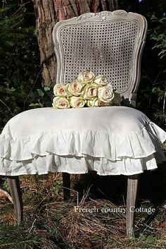 Stunning Romantic White Cotton Double Ruffled Slipcover Fits Most Chairs Shabby Fufu