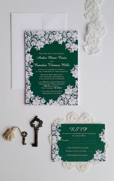 Modern lace wedding invitation  Emerald green by DesignedWithAmore