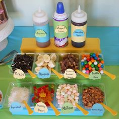 Ice Cream Sundae Bar - my mom did this at me and my 3 siblings' communion parties, it was a blast! Can't wait to do this when I have kids' parties (although my adult friends have certainly enjoyed when I do it for them lol)