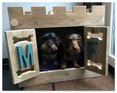 Hondenhok of hondenbench van gebruikt steigerhout