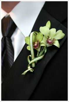 orchid boutonniere Green dendrobium orchids with beautiful curves of the china grass.