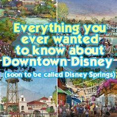 This is a big one. A complete guide to Downtown Disney/Disney Springs - info on every restaurant, entertainment option, shop and nearby resorts