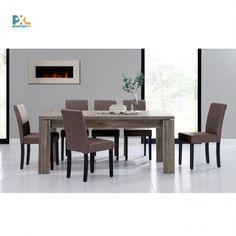 Jedálenská zostava 1+6. Elegantný jedálenský stôl 170x79 cm s delenou doskou pre 8 osôb. Vo farbe tmavý dub spolu so 6 jedálenskými stoličkami. Stoličky sú čalúnené hnedou ekokožou.