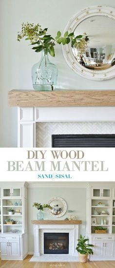 Learn how to make this DIY Wood Beam Mantel and fireplace surround with marble herringbone tile. The mantel has a hollow center to hide electrical cords or your treasures!
