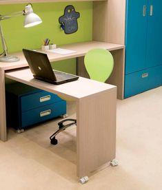 Cool Kids Bedroom Furniture Set with Unsual Folding Desk Ideas by DearKids in Tetrad Color - Kids Bedroom | Stupic.com