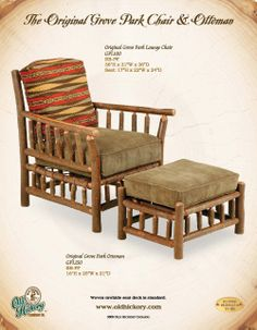 Old Hickory Original Grove Park Ottoman Old Hickory Furniture, Log Furniture, Log Home Living, Bear Decor, Chair And A Half, Lodge Style, Living Room Seating, Chair And Ottoman, Furniture Inspiration