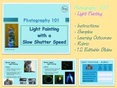 Photography students can get creative while learning how to adjust shutter speed, aperature and ISO settings by creating Light Paintings using their digital cameras and small laser lights.Provided is a 12-page editable PowerPoint to show your class, (including more pages with Teacher information).